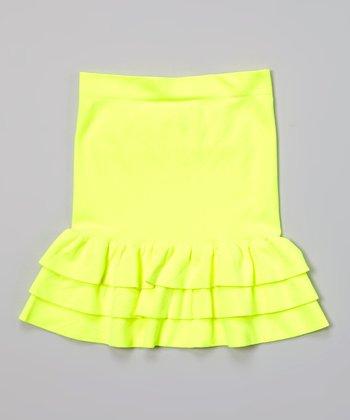 Malibu Sugar Neon Yellow Ruffle Skirt - Girls