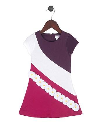 Gidget Loves Milo Purple & White Somersault Dress - Toddler & Girls