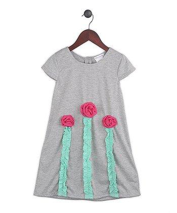 Gidget Loves Milo Gray & Fuchsia Flower Kiss the Sky Dress - Toddler & Girls
