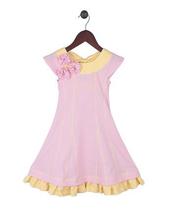 Gidget Loves Milo Pink & Yellow Funderful Yoke Dress - Toddler & Girls