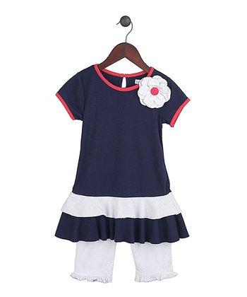 Gidget Loves Milo Navy Fancy Free Top & White Leggings - Infant, Toddler & Girls