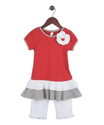 Gidget Loves Milo Red Fancy Free Top & White Leggings - Infant, Toddler & Girls