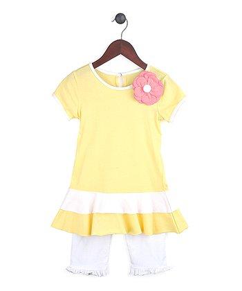 Gidget Loves Milo Yellow Fancy Free Top & White Leggings - Infant, Toddler & Girls