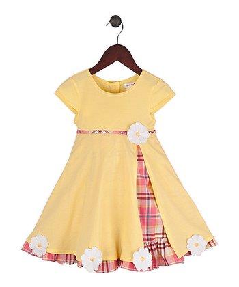 Gidget Loves Milo Yellow & Pink Plaid Gumdrop Dress - Infant, Toddler & Girls