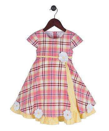 Gidget Loves Milo Pink Plaid & Yellow Sugarplum Dress - Infant, Toddler & Girls