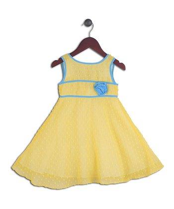 Halo Halo Girl Yellow & Blue Dot Overlay Dress - Toddler & Girls