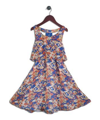 Halo Halo Girl Blue & Orange Abstract Layered Dress - Girls
