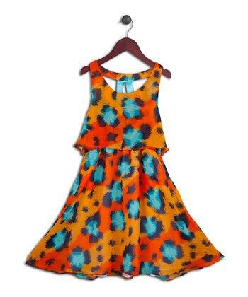 Halo Halo Girl Orange & Aqua Leopard Layered Dress - Girls