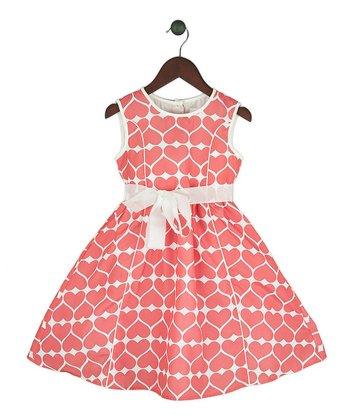 Halo Halo Girl Coral Heart A-Line Dress - Girls