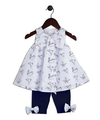 Halo Halo Girl White Origami Bow Dress & Navy Leggings - Infant, Toddler & Girls