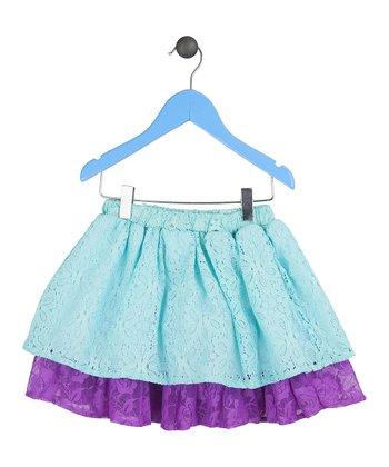 Halo Halo Girl Aqua Lace Layered Skirt - Toddler & Girls