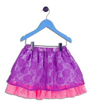 Halo Halo Girl Purple Lace Layered Skirt - Toddler & Girls