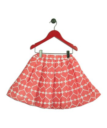 Halo Halo Girl Coral Heart Pleated Skirt - Toddler & Girls