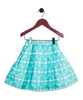 Halo Halo Girl Aqua Heart Pleated Skirt - Toddler & Girls