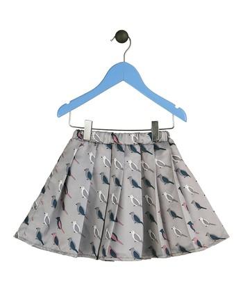 Halo Halo Girl Gray Bird Pleated Skirt - Toddler & Girls