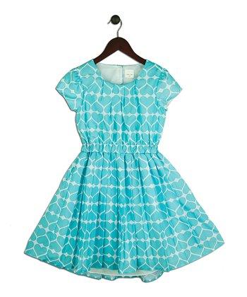 Halo Halo Girl Aqua Heart Open-Back Dress - Girls