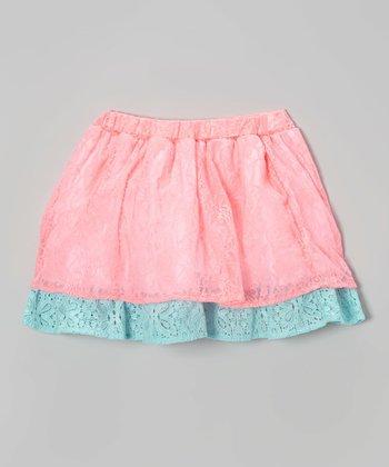 Halo Halo Girl Neon Pink Lace Layered Skirt - Toddler & Girls