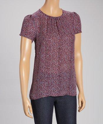 Pippa Red & Navy Silk Top
