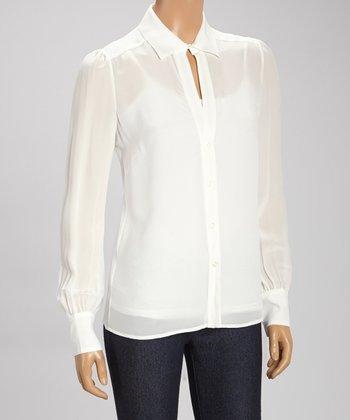 Tegan Ivory Silk Button-Up