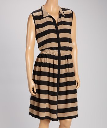 Pippa Sand & Black Silk Dress
