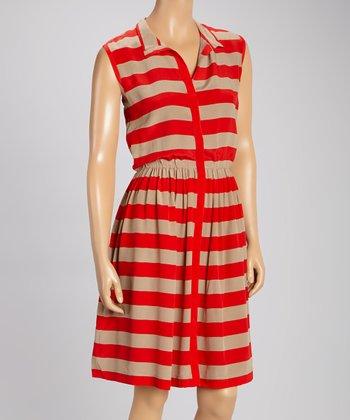 Pippa Red & Sand Silk Dress