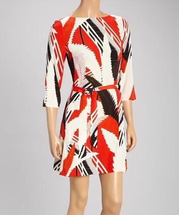 Tegan Red & Off-White Palm Dress