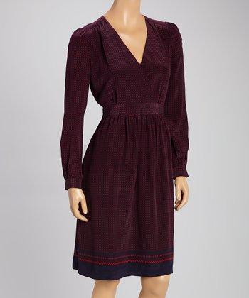 Tegan Red & Navy Silk Dress