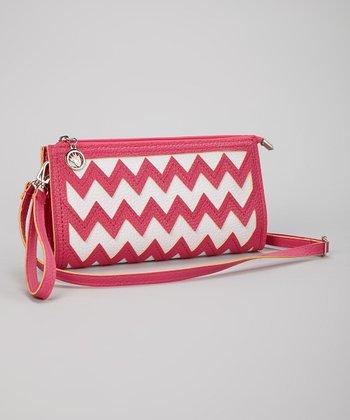 Pink & White Zigzag Clutch