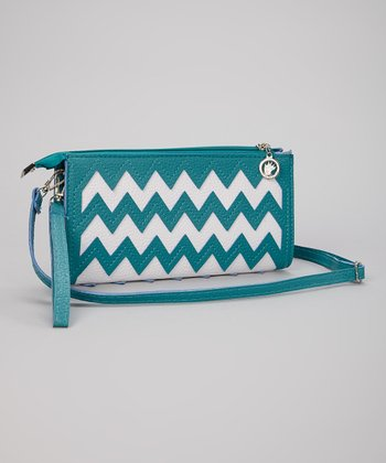 Turquoise & White Zigzag Clutch