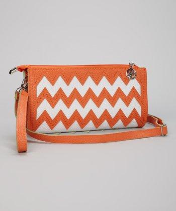 Orange & White Zigzag Clutch