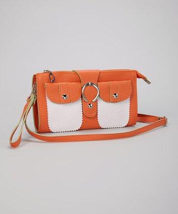 Orange & White Buckle Clutch