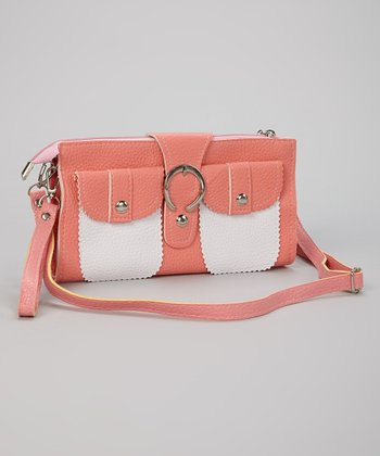Pink & White Buckle Clutch