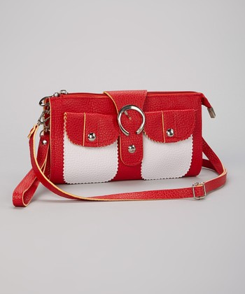 Red & White Buckle Clutch
