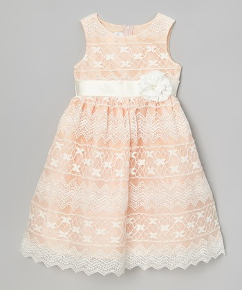 Rosenau Beck Coral Lace-Overlay Dress - Girls