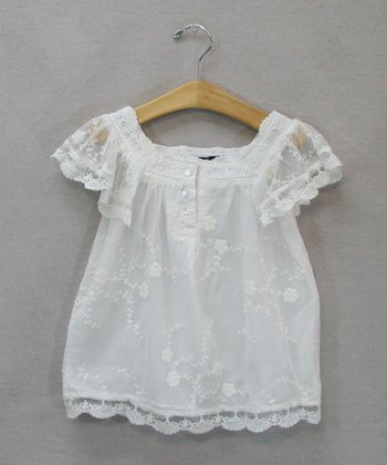White Lace Top - Toddler & Girls
