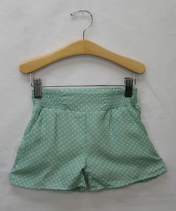 Mint Polka Dot Dress Shorts - Toddler & Girls