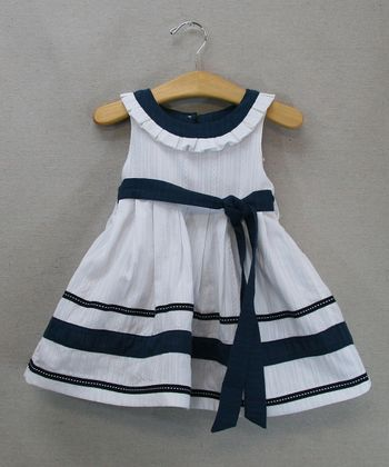 White & Navy Stripe Dress - Toddler & Girls