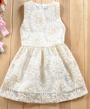 Ivory Embroidered Sunflower Dress - Toddler & Girls