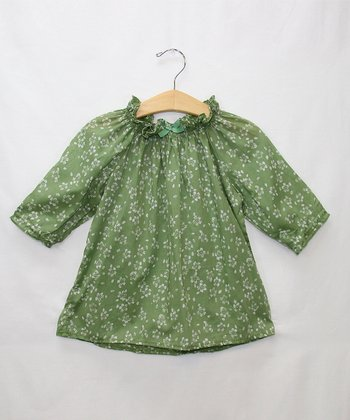Green Flower Top - Toddler & Girls