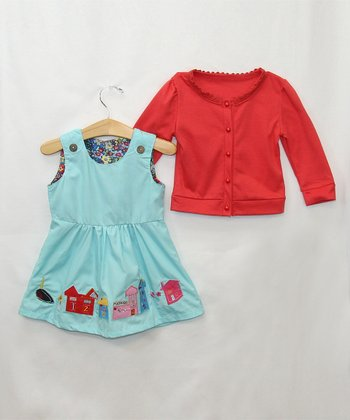 Green Barn Dress & Sweater - Infant & Toddler