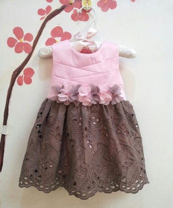 Pink & Brown Eyelet Dress - Infant, Toddler & Girls