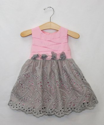 Pink & Gray Eyelet Dress - Infant, Toddler & Girls