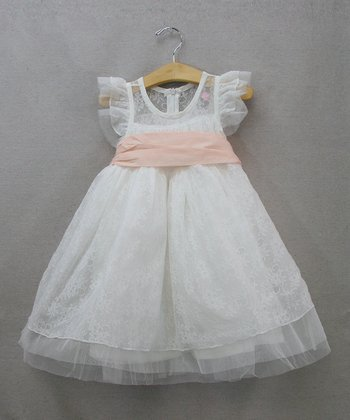 White & Pink Flutter-Sleeve Dress - Toddler & Girls