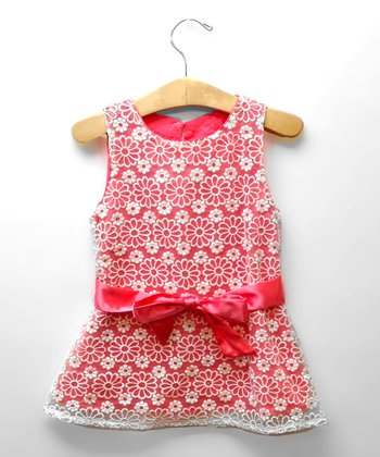 Coral Flower Lace Dress - Toddler & Girls