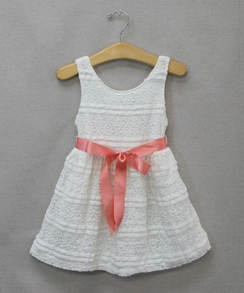 White & Coral Flower Lace Dress - Infant & Toddler