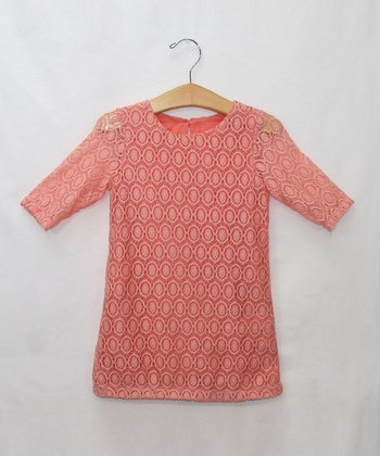Coral Lace Sheath Dress - Toddler & Girls