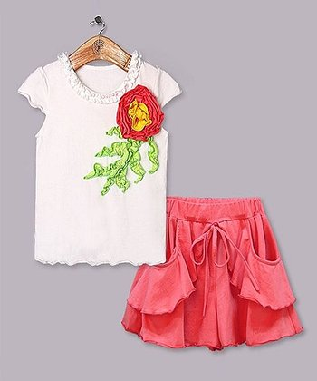 White & Coral Flower Tee & Ruffle Skirt - Toddler & Girls