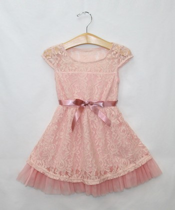 Pink Rose Lace Dress & Belt - Toddler & Girls