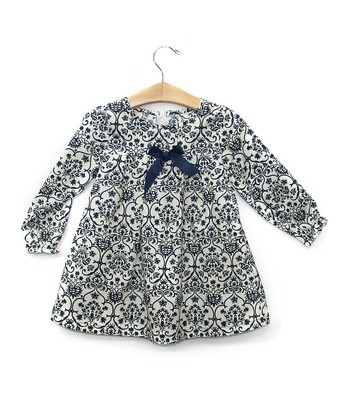 Navy Damask Top - Toddler & Girls
