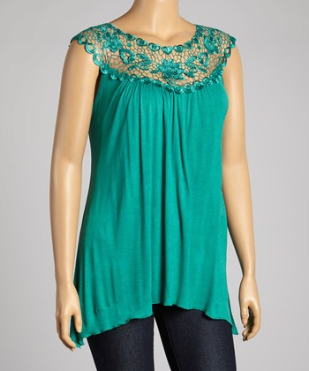 Emerald Floral Lace Yoke Top - Plus